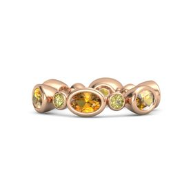 18K Rose Gold Ring with Citrine & Yellow Sapphire