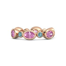 18K Rose Gold Ring with Pink Sapphire and London Blue Topaz
