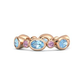 18K Rose Gold Ring with Blue Topaz and Pink Tourmaline