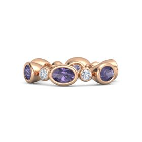 18K Rose Gold Ring with Iolite & Diamond