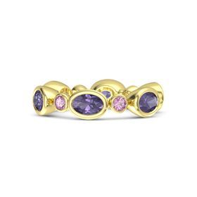 18K Yellow Gold Ring with Iolite & Pink Sapphire