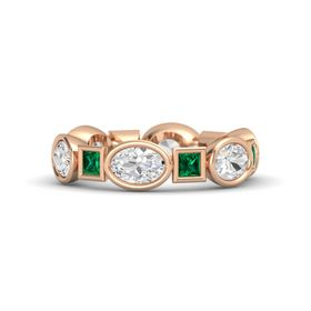 14K Rose Gold Ring with White Sapphire & Emerald