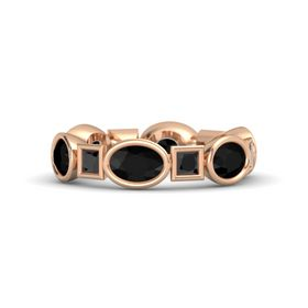 14K Rose Gold Ring with Black Onyx and Black Diamond