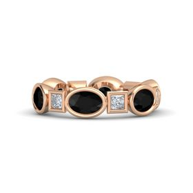 14K Rose Gold Ring with Black Onyx & Diamond