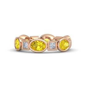 14K Rose Gold Ring with Yellow Sapphire & Diamond