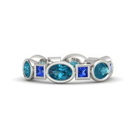 14K White Gold Ring with London Blue Topaz and Blue Sapphire