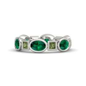14K White Gold Ring with Emerald & Green Tourmaline