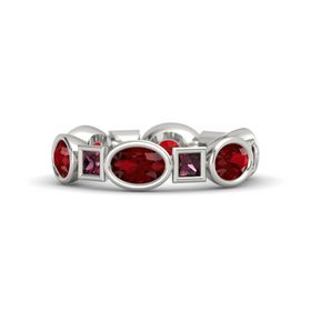 14K White Gold Ring with Ruby and Rhodolite Garnet