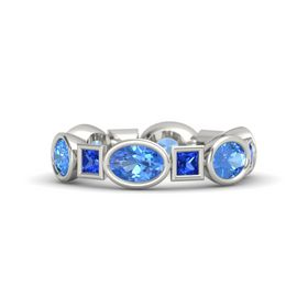 14K White Gold Ring with Blue Topaz & Sapphire