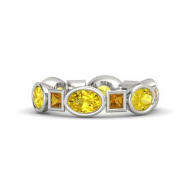 14K White Gold Ring with Yellow Sapphire & Citrine