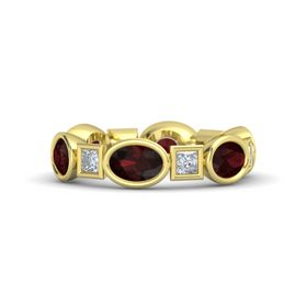 14K Yellow Gold Ring with Red Garnet & Diamond
