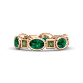 18K Rose Gold Ring with Emerald and Green Tourmaline