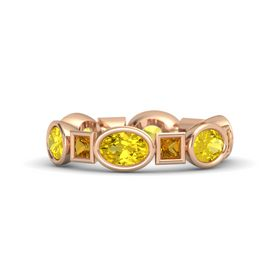 18K Rose Gold Ring with Yellow Sapphire & Citrine