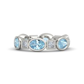 18K White Gold Ring with Aquamarine and Diamond