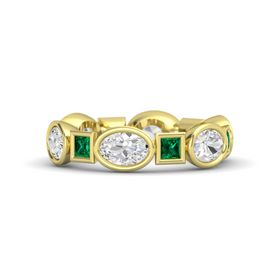 18K Yellow Gold Ring with White Sapphire and Emerald