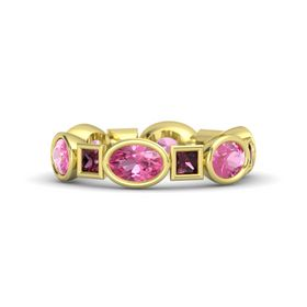 18K Yellow Gold Ring with Pink Tourmaline and Rhodolite Garnet