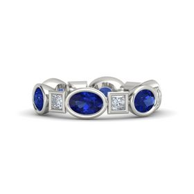 Palladium Ring with Blue Sapphire and Diamond