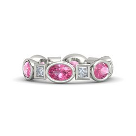 Platinum Ring with Pink Tourmaline & Diamond