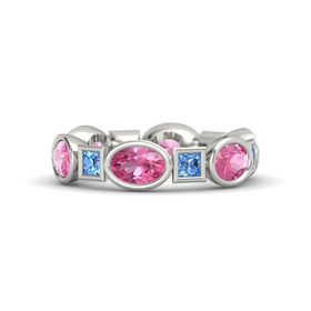 Platinum Ring with Pink Tourmaline & Blue Topaz