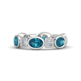 Sterling Silver Ring with London Blue Topaz and Diamond