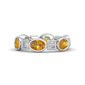 Sterling Silver Ring with Citrine & Diamond