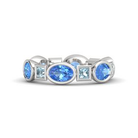 Sterling Silver Ring with Blue Topaz and Aquamarine
