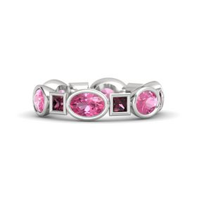 Sterling Silver Ring with Pink Tourmaline and Rhodolite Garnet