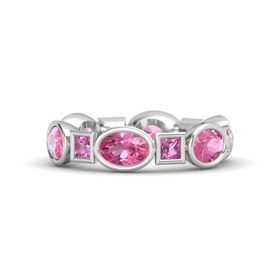 Sterling Silver Ring with Pink Tourmaline and Pink Sapphire