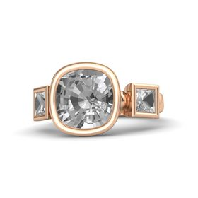 Cushion Rock Crystal 14K Rose Gold Ring with Rock Crystal
