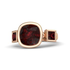 Cushion Red Garnet 14K Rose Gold Ring with Red Garnet