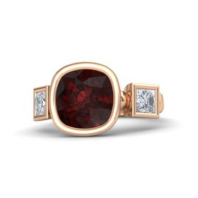 Cushion Red Garnet 14K Rose Gold Ring with Moissanite