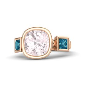 Cushion Rose Quartz 14K Rose Gold Ring with London Blue Topaz
