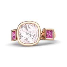 Cushion Rose Quartz 14K Rose Gold Ring with Pink Sapphire