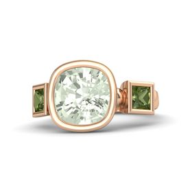 Cushion Green Amethyst 14K Rose Gold Ring with Green Tourmaline