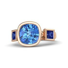 Cushion Blue Topaz 14K Rose Gold Ring with Sapphire