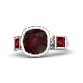 Cushion Red Garnet 14K White Gold Ring with Ruby