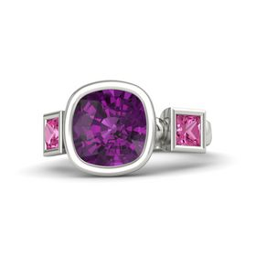 Cushion Rhodolite Garnet 14K White Gold Ring with Pink Sapphire