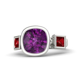 Cushion Rhodolite Garnet 14K White Gold Ring with Ruby
