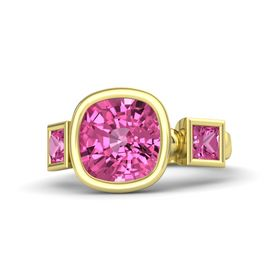 Cushion Pink Sapphire 14K Yellow Gold Ring with Pink Sapphire