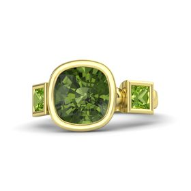 Cushion Green Tourmaline 14K Yellow Gold Ring with Peridot