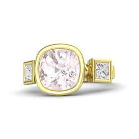 Cushion Rose Quartz 14K Yellow Gold Ring with White Sapphire