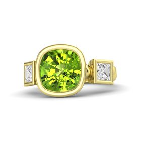 Cushion Peridot 14K Yellow Gold Ring with White Sapphire