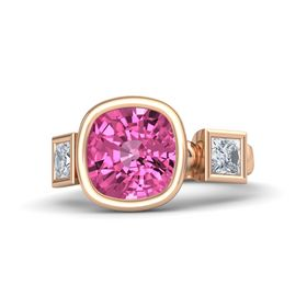 Cushion Pink Sapphire 18K Rose Gold Ring with Diamond
