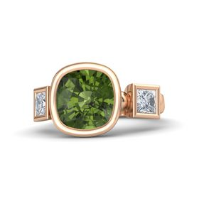 Cushion Green Tourmaline 18K Rose Gold Ring with Diamond