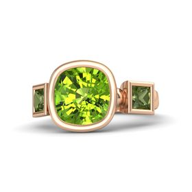 Cushion Peridot 18K Rose Gold Ring with Green Tourmaline