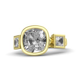 Cushion Rock Crystal 18K Yellow Gold Ring with Rock Crystal