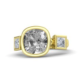 Cushion Rock Crystal 18K Yellow Gold Ring with Diamond