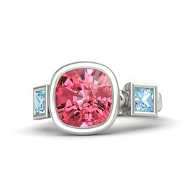 Cushion Pink Tourmaline Palladium Ring with Aquamarine
