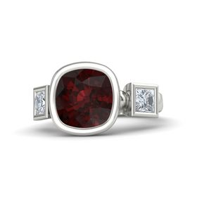 Cushion Red Garnet Platinum Ring with Diamond