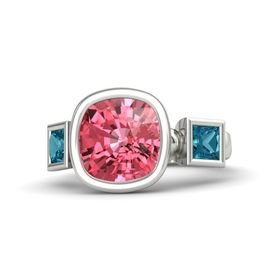 Cushion Pink Tourmaline Platinum Ring with London Blue Topaz